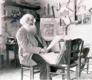 Camille Pissarro in his studio