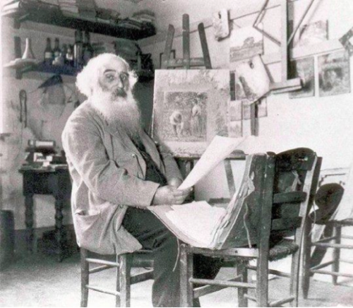 Camille Pissarro in his studio