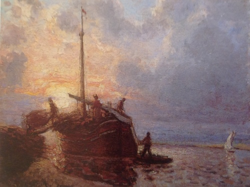 Unloading a Barge, Sunset c. 1864    PDR 85 Private collection