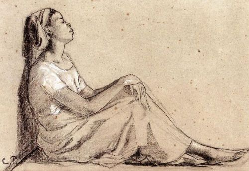 Drawing-young black woman seated
