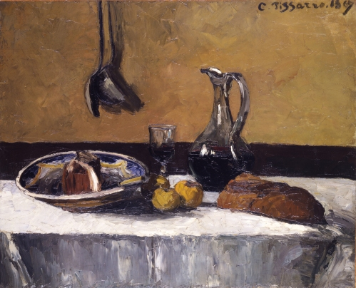 Camille Pissarro, French, 1830-1903; Still Life; 1867;oil on canvas;H: 31 7/8 in. (81 cm); W: 39 1/4 in. (99.7 cm).