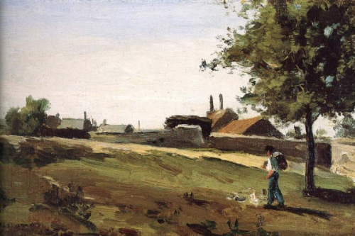 64 walking figure, entering a village c. 1862-int