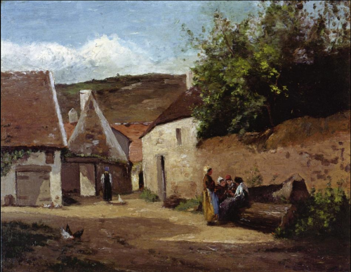 70 Village Scene, Wome Chatting c. 1863-INT