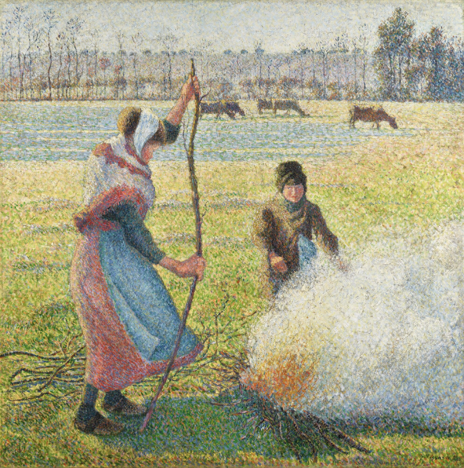 857 Gelee Blanche, Jeune Paysanne Faisant du Feu 1888